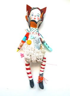 Cloth and clay art doll display hand painted by JessQuinnSmallArt