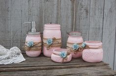 Pink mason jar bathroom set