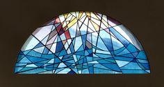 Vetrata artistica in vetro soffiato e colorescente legato in piombo cm. 250 x 125 #Stained-glass