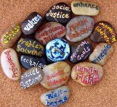 """Stones with Social Work ideals. Lora Weaver's social worker heart would love these! In """"The First Faux Pas"""" book, she's already working these into her new PI job… _ [Photo uploaded by sassylilscorpio. Social Work Values, Social Work Quotes, Social Work Practice, School Social Work, Student Work, Social Work Images, Private Practice, Make A Difference, Therapy Tools"""