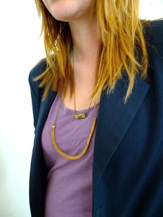vintage brass mesh chain necklace by nobletown vintage