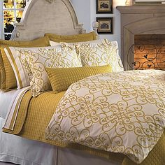 Transform your bedroom into a sophisticated retreat with the Downtown Company Freccia Reversible Duvet Cover Set. Inspired by the beauty of old world ornamental ironwork, the golden yellow bedding features an ornate pattern of delicate curves.