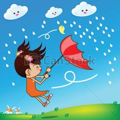 Little girl in rainny day 002 vector image on VectorStock Rain Clipart, Rainny Day, Girl In Rain, Preschool Music Activities, Music Theater, Music For Kids, Music Education, Vector Free, Little Girls