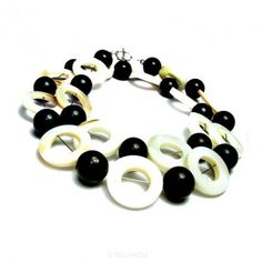 """Unique Onyx Necklace in combination beautiful Mother of Pearl 19"""" http://www.belonda.com/jewelry-stores/handmade-jewelry/handmade-necklaces/Unique-Onyx-Necklace"""