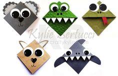 Stampin' Up! Australia: Kylie Bertucci Independent Demonstrator: Punch Art Australian Animals Corner Bookmark Tutorial This. Origami Tutorial, Origami Easy, Paper Punch Art, Paper Art, Fun Crafts, Crafts For Kids, Paper Crafts, Monster Bookmark, Corner Bookmarks
