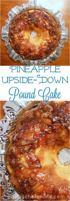 This pineapple upside down pound cake combines two great Southern dessert recipes: fine-textured pound cake and sticky-sweet pineapple upside down cake. Now you can have the best of both worlds with this Pineapple Upside Down Pound Cake recipe! Enjoy! | pastrychefonline.com