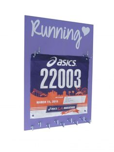 Running medal and bib holder - Running Heart - tons of quote to choose from. 20 unique color. 12 unique style and size! Amazing website for runners. Best running gifts ever. Best price. $27.99  Totally hooked to runningonthewall.com