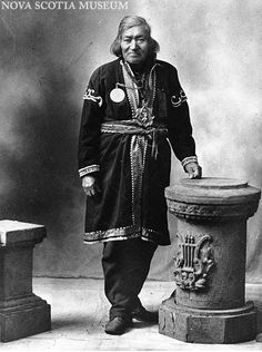 "Photo Of ""John Noel, Chief Of Mi`Kmaq Indians"" Of Halifax, Lunenburg, Hants, Kings, Colchester & Cumberland Counties, Dressed In Typical Mi`Kmaq Ornamented Coat"