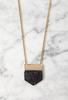 Angular Faux Marble Pendant Necklace | Forever 21 - 1000131765