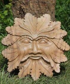 Green Man Oak Leaf Wood Carving