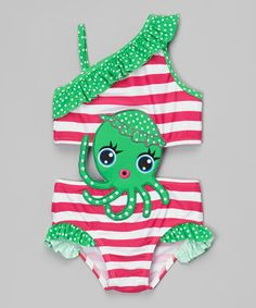 This Green & Pink Octopus Cutout One-Piece - Infant & Toddler by Sol Swim is perfect! #zulilyfinds