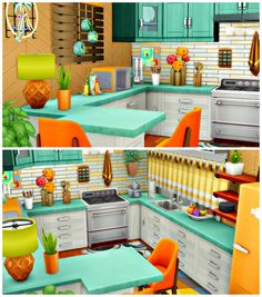 I started with the kitchen (obviously, it's what I do!) in the retro home. It was difficult to find items which would fit the theme at first, but once I got into it, it got easier and easier! Sims 4 House Plans, Sims 4 House Building, Sims 4 Expansions, Sims 4 Family, Sims 4 Kitchen, Sims 4 House Design, Casas The Sims 4, Sims 4 Cc Furniture, Sims 4 Build