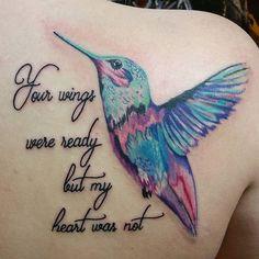 Best Watercolor Hummingbird Tattoo - Meaning and Designs Oma Tattoos, Future Tattoos, Body Art Tattoos, Sleeve Tattoos, Tatoos, Memory Tattoos, Rip Tattoo, Tattoo Mom, Bird Tattoos