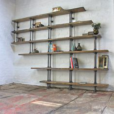 Emilie Asymmetric Reclaimed Scaffolding Boards and Dark Steel Pipe Shelves/Bookcase - Bespoke Urban Shelving System by www.inspiritdeco.com