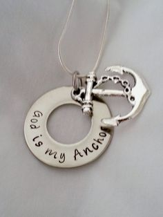God is my anchor hand stamped Christian necklace by TempleStamping
