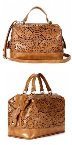 Cognac Laser Cut Satchel Bag
