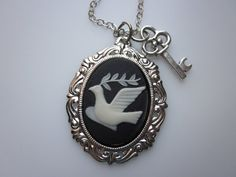 Bird Necklace, Bird Cameo, Cameo Necklace, Dove Necklace, Dove with Olive Branch, Peace Symbol, Key Charm, Silver Finished Bird Necklace by luckysparks
