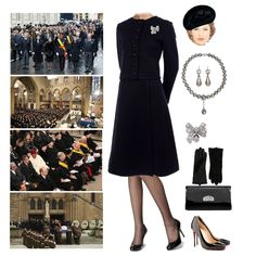 Nov 2019 - Fashion set HM Queen Rose and her father-in-law (former King Michael) attended The State Funeral of Grand Duke Jean of Luxembourg created via Royal Fashion, Fashion Brand, Fashion Looks, Royal Engagement, Engagement Outfits, Funeral Outfit, Gown Suit, Royal Clothing, Estilo Real