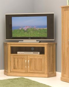Solid Oak Corner Television Cabinet This Solid Oak Corner Television Cabinet  Is Ideal For Storing Your