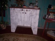 Distressed white Primitive cabinet, I built for my shop