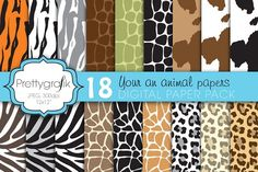 animal print digital paper by Prettygrafik Design on @creativemarket