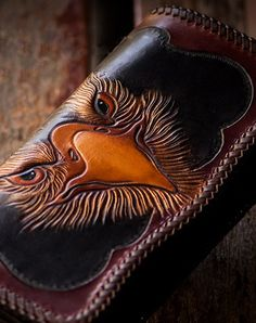 Handmade biker wallet black brown leather eagle carved biker wallet bifold long wallet for men