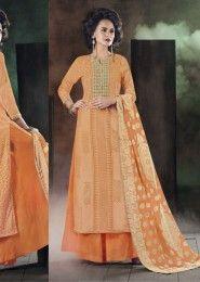 Party Wear Cotton Orange Embroidered Work Plazzo