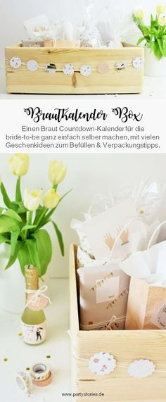DIY Brautkalender mit Ideen zum Füllen DIY bridal calendar - find ideas for a bride countdown calendar in the box as a gift to make yourself for the bride, the newlyweds or for engagement, with Team Bride, German Wedding, Diy Tumblr, Countdown Calendar, Advent Calendar, Wedding Countdown, Diy Wedding, Wedding Beauty, Wedding Photos