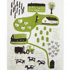 Kauniste Maatila, Tea Towel, Green Farm.  Handprinted kitchen linens inspired by 60s & 70s Finnish textiles.