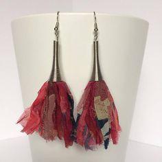 Graphic Sari Silk Ribbon Tassel Earrings Colorful Boho Tassel