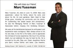 Marc Yussman, lawyer obituary advertisement