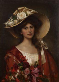 Albert Lynch (1851-1900 Peruvian) - Portrait of a young woman