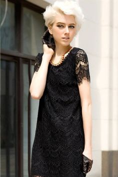 Lace Short-sleeved Lace Dress