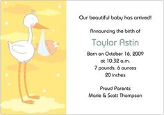 "#babystationary Birth Announcements: "" #Stork #Delivery"" features a happy stork carrying a polka-dotted sling carrying a sleeping baby. In the background are stars..."