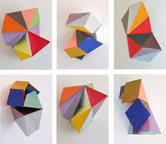 Folded geometries with rubix cube esque color theme.