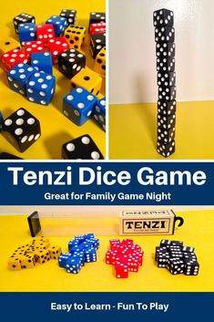 Tenzi is a fun game that the whole family can play. You can learn how to play Tenzi in a minute but you can make up rule variations to keep it feeling like a new game everytime you play. If you can roll dice, you can play Tenzi. Family Fun Games, Family Game Night, Games For Kids, Games To Play, Dice Game Rules, Dice Games, Thanksgiving Games For Adults, Game Night Parties, Articulation Games