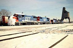 GTW, Pontiac, Michigan, 1981 Grand Trunk Western Railroad locomotives and coaling tower near Pontiac, Michigan, in February 1981. Photograph by John F. Bjorklund, © 2016, Center for Railroad Photography and Art. Bjorklund-58-28-20