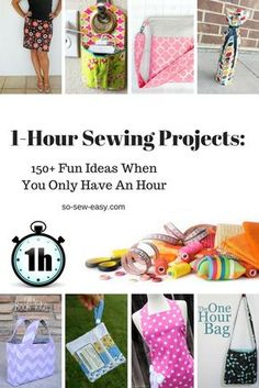 1-Hour Sewing Projects: 150+ Fun Ideas When You Only Have An Hour http://so-sew-easy.com/1-hour-sewing-projects-150-fun-ideas/? #freesewing #sewingpatterns #freetutorials #diy #onehoursewing #diygifts #sewingprojects #soseweasy