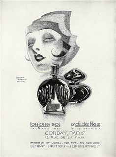 Perfume advertisement, 1927 Illustration by Malcolm Strauss