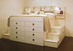 Best Bedroom Storage For Small Rooms – Modern Home Ikea Bedroom, Small Room Bedroom, Bedroom Storage, Small Rooms, Home Decor Bedroom, Small Spaces, Bedroom Ideas, Elevated Bed, Bunk Beds With Stairs