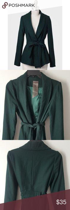 Moon Collection Green Sash Belt Coat size Medium Glastonbury sash belt coat by Moon Collection in dark, emerald green. Size Medium. Long sleeve, removable sash belt. Moon Collection Jackets & Coats