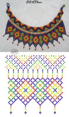 Fotos de Natali Jovalko Diy Necklace Patterns, Beaded Jewelry Patterns, Beading Patterns Free, Beading Tutorials, Beaded Crafts, Beaded Collar, Handmade Beads, Bead Crochet, Bead Weaving
