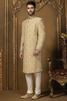 exclusive gold and cream silk men wedding sherwani Sherwani For Men Wedding, Sherwani Groom, Mens Sherwani, Wedding Dress Men, Wedding Men, Wedding Suits, Wedding Styles, Wedding Ideas, Indian Wedding Clothes For Men