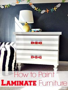 how to paint laminate furniture Striped Nightstand Makeover