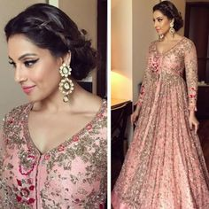 Bipasha basu in this lovely outfit for an event ethnic and f Indian Wedding Gowns, Pakistani Wedding Outfits, Indian Gowns Dresses, Indian Bridal Lehenga, Red Lehenga, Anarkali Dress, Bridal Outfits, Pakistani Dresses, Indian Outfits