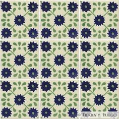 "Mexican Tile - Green Marguerite Mexican Tile - Tierra y Fuego on Amazon.com $1.65 each for 4""x4"" tiles"