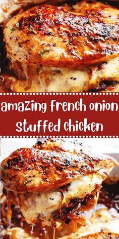 amazing french onion stuffed chicken - Kristyn Self Baked Chicken Recipes, Meat Recipes, Crockpot Recipes, Dinner Recipes, Cooking Recipes, Healthy Recipes, Amazing Chicken Recipes, Best Chicken Dishes, Gourmet