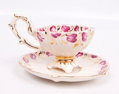 Stafford China Demitasse Cup And Saucer Gold Trim Floral Design Hand Painted.