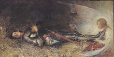 """George William Joy - Joan of Arc asleep (by hauk sven) """" Joan of Arc (French: Jeanne IPA: [ʒan daʁk]; 1412 – 30 May nicknamed """"The Maid of Orléans"""" (French: La Pucelle d'Orléans), is a heroine of France and a Roman. Joan D Arc, Saint Joan Of Arc, St Joan, Jeanne D'arc, Rouen, Pre Raphaelite, Catholic Saints, Roman Catholic, Realism Art"""