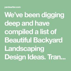 We've been digging deep and have compiled a list of Beautiful Backyard Landscaping Design Ideas. Transform outdoor spaces with our hand-picked selection. Landscaping Design, Outdoor Landscaping, Lawn Maintenance, Dig Deep, Back Patio, Outdoor Spaces, Design Ideas, Landscape, Koi Ponds
